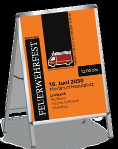 Plakat Feuerwehrfest Auto Orange A0