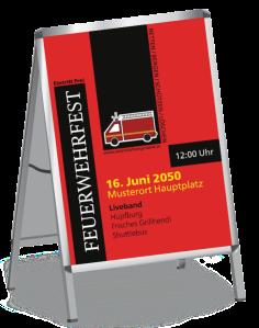 Plakat Feuerwehrfest Auto Rot A0