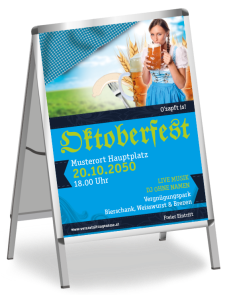 Plakat Oktoberfest Dirndl A1 Blau
