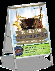 Plakat Oktoberfest Instrumente Blau
