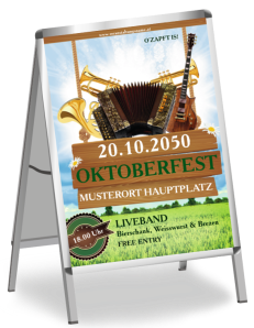 Plakat Oktoberfest Instrumente Gruen