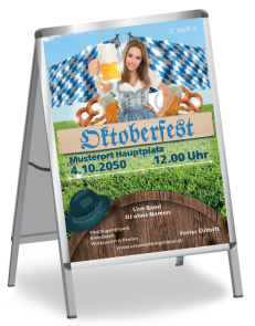 Plakat Oktoberfest Tracht A1 Blau