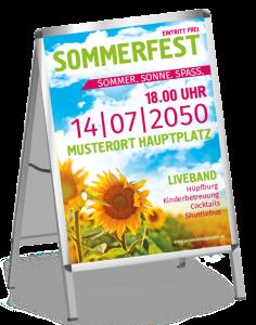 Plakat Sommerfest Sonnenblume Gruen A0