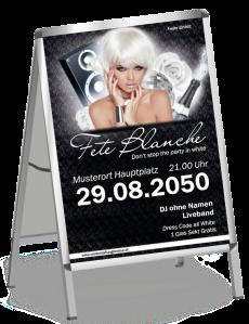 Plakat Fete Blanche Floral A1 Schwarz