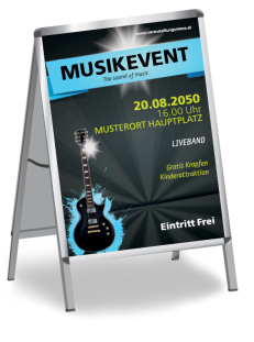 Plakat Musikfest Gitarre Blau