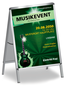 Plakat Musikfest Gitarre Gruen