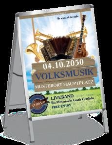 Plakat Musikfest Instrumente Blau