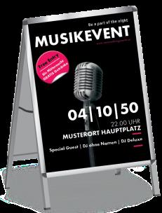 Plakat Musikfest Mikrofon Schwarz