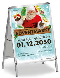 Plakat Adventmarkt Santa Clause Blau