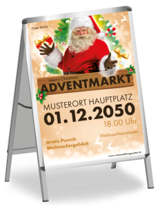 Plakat Adventmarkt Santa Clause Gold