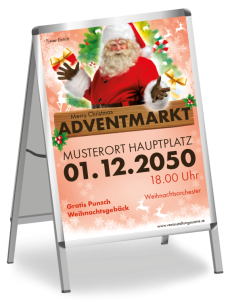 Plakat Adventmarkt Santa Clause Rot