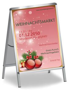 Plakat Weihnachten Kugeln Rot