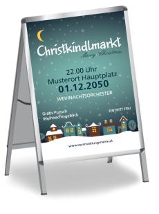 Plakat Weihnachten Stadtlichter Blau