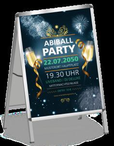 Plakat Abiball Feuerwerk Blau A1