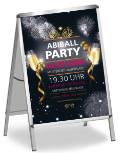 Plakat Abiball Feuerwerk Schwarz A1