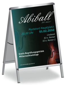 Plakat Abiball Geige A1 Tuerkis