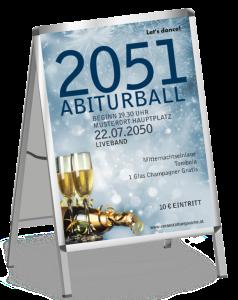 Plakat Abiball Goldrausch Blau A1