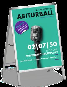 Plakat Abiball Mikrofon Tuerkis A1