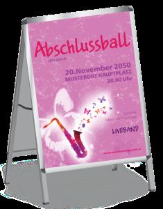 Plakat Abiball Saxophon A1 Rosa