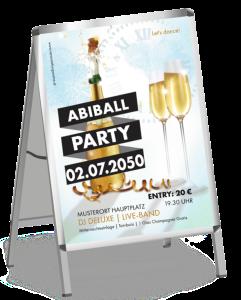 Plakat Abiball Sektflasche Blau A1