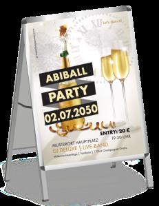Plakat Abiball Sektflasche Gold A1