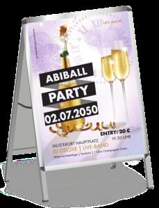 Plakat Abiball Sektflasche Violett A1