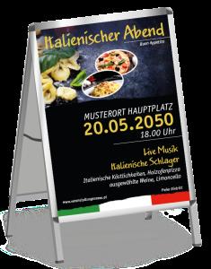 Plakat Italienischer Abend Buon Appetito Gelb