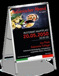 Plakat Italienischer Abend Buon Appetito Rot