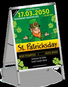 Plakat St. Patricks Day Leprechaun A1 Schwarz