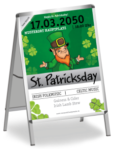 Plakat St. Patricks Day Leprechaun A1 Weiss