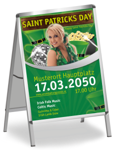 Plakat St. Patricks Day Maedchen A1 Gruen