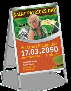 Plakat St. Patricks Day Maedchen A1 Orange