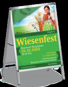 Plakat Wiesenfest Dirndl A1 Gruen