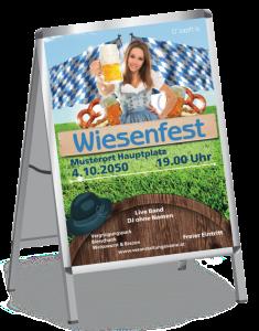 Plakat Wiesenfest Tracht A1 Blau