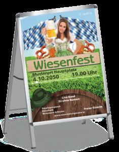 Plakat Wiesenfest Tracht A1 Gruen