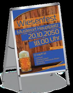 Plakat Wiesenfest Zuenftig und Urig A1 Blau