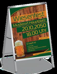Plakat Wiesenfest Zuenftig und Urig A1 Gruen