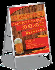 Plakat Wiesenfest Zuenftig und Urig A1 Rot