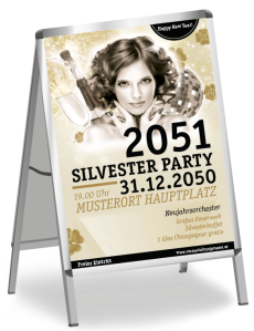 Plakat A1 Silvester Happy New Year Gold