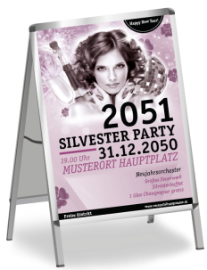 Plakat A1 Silvester Happy New Year Rosa
