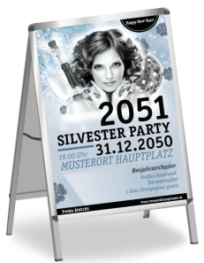 Plakat A1 Silvester Happy New Year Silber
