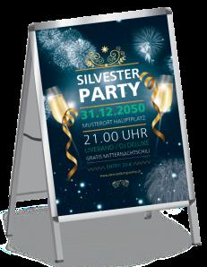 Plakat Silvester Feuerwerk Blau