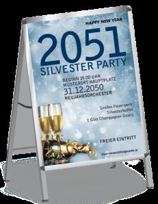 Plakat Silvester Goldrauschl A1 Blau