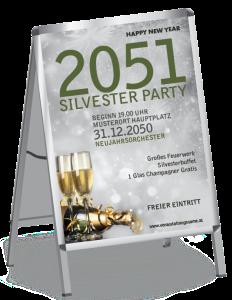 Plakat Silvester Goldrauschl A1 Silber