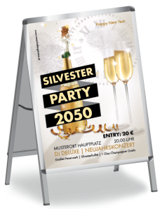 Plakat Silvester Sektflasche Gold