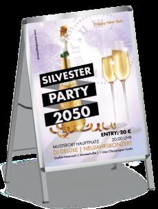 Plakat Silvester Sektflasche Lila